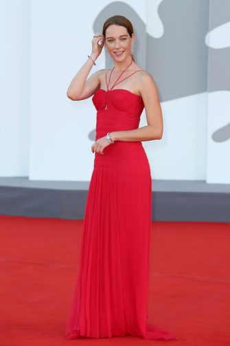 """VENICE, ITALY - SEPTEMBER 08: Cristiana Capotondi attends the red carpet of the movie """"Freaks Out"""" during the 78th Venice International Film Festival on September 08, 2021 in Venice, Italy. (Photo by Ernesto Ruscio/Getty Images)"""