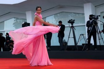 """VENICE, ITALY - SEPTEMBER 07: Farnoush Hamidian attends the red carpet of the movie """"Qui Rido Io"""" during the 78th Venice International Film Festival on September 07, 2021 in Venice, Italy. (Photo by Maria Moratti/Getty Images)"""