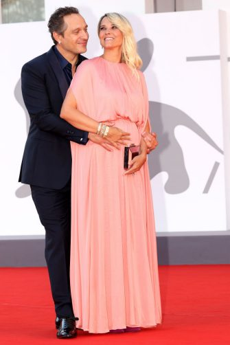 """VENICE, ITALY - SEPTEMBER 08: Francesca Barra and Claudio Santamaria attend attends the red carpet of the movie """"Freaks Out"""" during the 78th Venice International Film Festival on September 08, 2021 in Venice, Italy. (Photo by Franco Origlia/Getty Images)"""