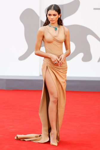 VENICE, ITALY - SEPTEMBER 03, 2021: Zendaya arrives on the red carpet for 'Dune' during the 78th Venice International Film Festival in Venice, Italy. (Photo credit should read P. Lehman/Barcroft Media via Getty Images)