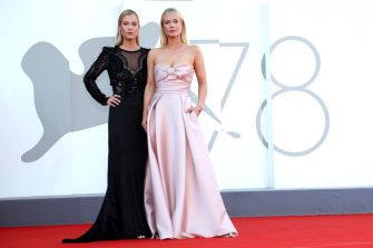 """VENICE, ITALY - SEPTEMBER 01: Lady Amelia Spencer and Lady Eliza Spencer attend the red carpet of the movie """"Madres Paralelas"""" during the 78th Venice International Film Festival on September 01, 2021 in Venice, Italy. (Photo by Franco Origlia/Getty Images)"""