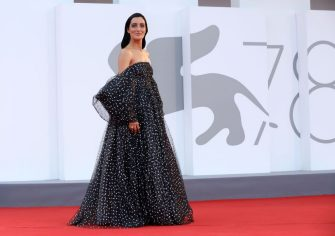 """VENICE, ITALY - SEPTEMBER 04: Levante attends the red carpet of the movie """"Competencia Oficial"""" during the 78th Venice International Film Festival on September 04, 2021 in Venice, Italy. (Photo by Elisabetta A. Villa/Getty Images)"""