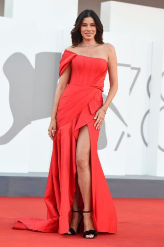 """VENICE, ITALY - SEPTEMBER 06:  Aida Yespica attends the red carpet of the movie """"La Caja"""" during the 78th Venice International Film Festival on September 06, 2021 in Venice, Italy. (Photo by Stefania D'Alessandro/Getty Images)"""