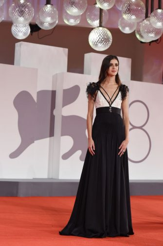 """VENICE, ITALY - SEPTEMBER 06:  Benedetta Porcaroli attends the red carpet of the movie """"La Scuola Cattolica"""" during the 78th Venice International Film Festival on September 06, 2021 in Venice, Italy. (Photo by Stefania D'Alessandro/Getty Images)"""