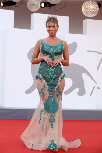 """VENICE, ITALY - SEPTEMBER 07: Guest attends the red carpet of the movie """"Qui Rido Io"""" during the 78th Venice International Film Festival on September 07, 2021 in Venice, Italy. (Photo by Elisabetta A. Villa/Getty Images)"""