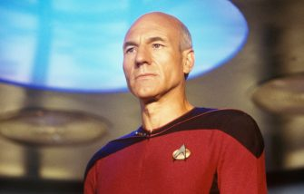 """HOLLYWOOD - 1987:  Patrick Stewart, star of TV's """"Star Trek: The Next Generation,"""" prepares to """"engage"""" during filming at Paramount Studios in Hollywood, California in 1987. Stewart portrayed the heroic Captain Jean-Luc Picard  (Photo by George Rose/Getty Images)"""