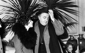 "Federico Fellini with Magali Noel during the making of the movie ""Amarcord"" in Rome, Italy, 13 March 1973. ANSA/OLDPIX"