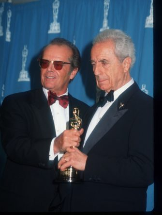 "217015 15: Jack Nicholson and Michelangelo Antonioni attend the 67th Annual Academy Awards ceremony March 27, 1995 in Los Angeles, CA. This year''s ceremony recognizes excellence in a number of films including ""Ed Wood,"" ""Lion King"" and ""Forrest Gump."" (Photo by Barry King/Liaison)"