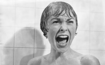 In the shower scene from the film Psycho, Marion Crane (played by Janet Leigh) screams in terror as Norman Bates tears open her shower curtain. (Photo by Bettmann via Getty Images)