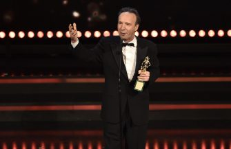 Italian actor Roberto Benigni receives the 'David di Donatello Award 2017' for his career in Rome, Italy, 27 March 2017. The David di Donatello award is a film prize presented annually to honour the best of Italian and foreign motion picture productions. ANSA/GIORGIO ONORATI