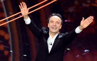 Academy award winner Italian actor Roberto Benigni performes on stage at the Ariston theatre during the 70th Sanremo Italian Song Festival in Sanremo, Italy, 06 February 2020. The festival runs from 04 to 08 February. EPA/ETTORE FERRARI