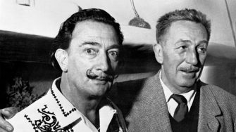 """Spanish artist Salvador Dali (L) meets Walt Disney (R), on May 17, 1961, in Barcelona, to create the Opera """"Scipion in Spain"""" of Carlotti for the La Fenica theater of Venezia.        (Photo credit should read -/AFP/GettyImages)"""