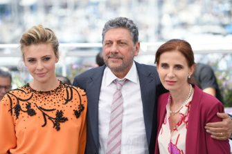 """CANNES, FRANCE - MAY 21:  (L-R) Actor Jasmine Trinca, Director Sergio Castellitto and Screenwriter Margaret Mazzantini attend the """"Fortunata"""" photocall during the 70th annual Cannes Film Festival at Palais des Festivals on May 21, 2017 in Cannes, France.  (Photo by Venturelli/WireImage)"""