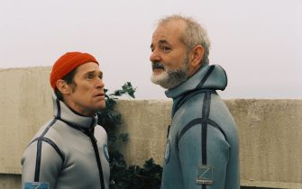 """Pictured:  Klaus Daimler (WILLEM DAFOE, left) and Steve Zissou (BILL MURRAY, right) in a scene from THE LIFE AQUATIC WITH STEVE ZISSOU, directed by Wes Anderson.        NOT FOR INTERNET USE. AUTHORIZED FOR PRINT OUTLETS ONLY.    Distributed by Buena Vista International.    THIS MATERIAL MAY BE LAWFULLY USED IN ALL MEDIA EXCLUDING THE INTERNET, ONLY TO PROMOTE THE RELEASE OF THE MOTION PICTURE ENTITLED """"THE LIFE AQUATIC WITH STEVE ZISSOU"""" DURING THE PICTURE'S PROMOTIONAL WINDOWS. EXPRESS PRIOR WRITTEN CONSENT FROM TOUCHSTONE PICTURES IS REQUIRED FOR INTERNET USE. ANY OTHER USE, RE-USE, DUPLICATION OR POSTING OF THIS MATERIAL IS STRICTLY PROHIBITED WITHOUT THE EXPRESS WRITTEN CONSENT OF TOUCHSTONE PICTURES. AND COULD RESULT IN LEGAL LIABILITY. YOU WILL BE SOLELY RESPONSIBLE FOR ANY CLAIMS, DAMAGES, FEES, COSTS, AND PENALTIES ARISING OUT OF UNAUTHORIZED USE OF THIS MATERIAL BY YOU OR YOUR AGENTS."""