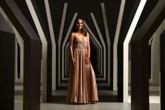 MELBOURNE, AUSTRALIA - DECEMBER 01:  Natalie Portman poses in the Escher x Nendo | Between Two Worlds Exhibition ahead of the NGV Gala 2018 at National Gallery of Victoria on December 1, 2018 in Melbourne, Australia.  (Photo by Eugene Hyland/Getty Images for NGV)