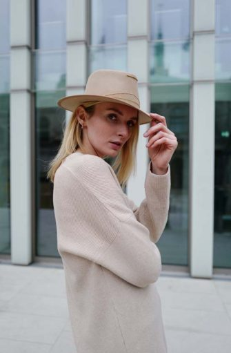 HAMBURG, GERMANY - MARCH 07: Eva Staudinger wearing beige SoSUE cardigan and beige hat on March 07, 2021 in Hamburg, Germany. (Photo by Jeremy Moeller/Getty Images)