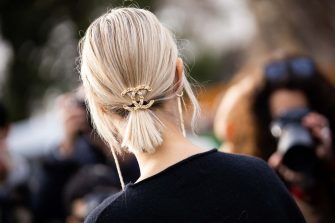 PARIS, FRANCE - MARCH 03: Linda Tol, Chanel hair clip detail, is seen outside Chanel, during Paris Fashion Week - Womenswear Fall/Winter 2020/2021 : Day Nine on March 03, 2020 in Paris, France. (Photo by Claudio Lavenia/Getty Images)