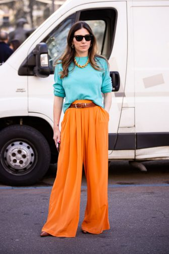 MILAN, ITALY - FEBRUARY 20: Alessandra Airo, wearing a teal jumper and orange pants is seen outside Max Mara show, during Milan Fashion Week Fall/Winter 2020-2021 on February 20, 2020 in Milan, Italy. (Photo by Claudio Lavenia/Getty Images)