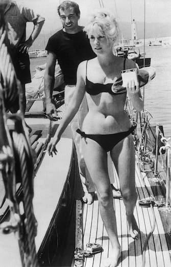 Actress Catherine Deneuve with her fiance director Roger Vadim.