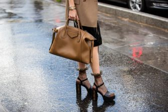 PARIS, FRANCE - FEBRUARY 29: Leonie Hanne is seen wearing sheer socks, Louis Vuitton heels, black skirt, camel blazer, beige Givenchy bag outside Rohk during Paris Fashion Week - Womenswear Fall/Winter 2020/2021 : Day Six on February 29, 2020 in Paris, France. (Photo by Christian Vierig/Getty Images)