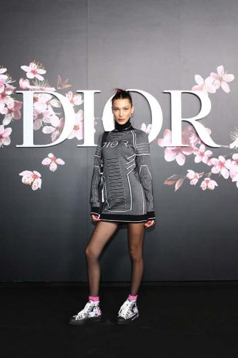 TOKYO, JAPAN - NOVEMBER 30: Bella Hadid attends the photocall at the Dior Pre Fall 2019 Men's Collection on November 30, 2018 in Tokyo, Japan. (Photo by Getty Images/Getty Images for Dior)
