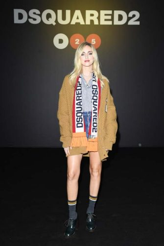 MILAN, ITALY - JANUARY 10: Chiara Ferragni attends the Dsquared2 fashion show during the Milan Men's and Women's Fashion Week Fall Winter 20 on January 10, 2020 in Milan, Italy. (Photo by Daniele Venturelli/Getty Images for Dsquared2)