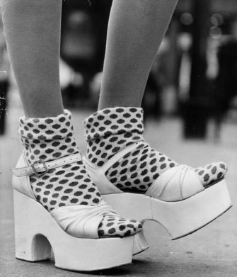 October 1971:  A pair of platform shoes by Dorothee Bis, worn with fifties-style socks.  (Photo by Gunnar Larsen/Evening Standard/Getty Images)