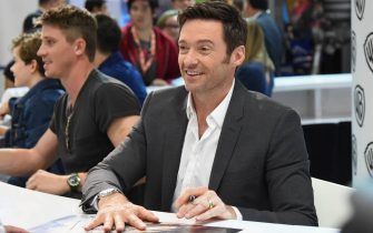 """Actor Hugh Jackman at the """"Pan"""" autograph signing during Comic-Con International 2015 at the San Diego Convention Center on July 11, 2015 in San Diego, California."""