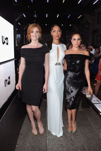 "NEW YORK, NY - JUNE 12: (L-R) Sarah Rafferty, Gina Torres and Meghan Markle of Suits attend USA Network and Mr Porter.com Present ""A Suits Story"" on June 12, 2012 in New York, United States.  (Photo by Jamie McCarthy/Getty Images for NBCUniversal/USA Network)"