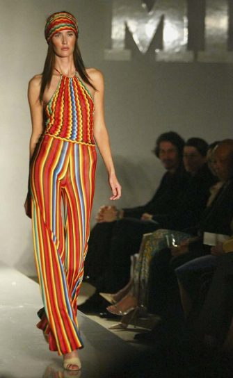 LOS ANGELES - NOVEMBER 30:  A model walks the runway at the Missoni Spring 2005 and Retrospective Fashion Show at Neiman Marcus on November 30, 2004 in Beverly Hills, California. (Photo by Matthew Simmons/Getty Images)