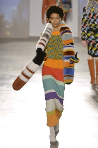 MILAN, ITALY - FEBRUARY 25:  A model walks the runway at the Missoni Autumn Winter 2017 fashion show during Milan Fashion Week on February 25, 2017 in Milan, Italy.  (Photo by Catwalking/Getty Images)