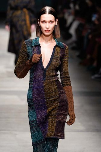 MILAN, ITALY - FEBRUARY 22: Bella Hadid walks the runway during the Missoni fashion show as part of Milan Fashion Week Fall/Winter 2020-2021 on February 22, 2020 in Milan, Italy. (Photo by Pietro D'Aprano/Getty Images)