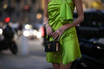 MILAN, ITALY - FEBRUARY 21: Leonie Hanne is seen wearing a Versace green dress before Versace during Milan Fashion Week Fall/Winter 2020-2021 on February 21, 2020 in Milan, Italy. (Photo by Jeremy Moeller/Getty Images)