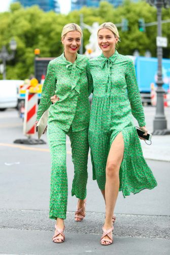BERLIN, GERMANY - JULY 05: Julia Meise and Nina Meise seen wearing Sem Per Lei dresses as they arrive at the Fashion Brunch on July 05, 2019 in Berlin, Germany. (Photo by Brian Dowling/Getty Images)