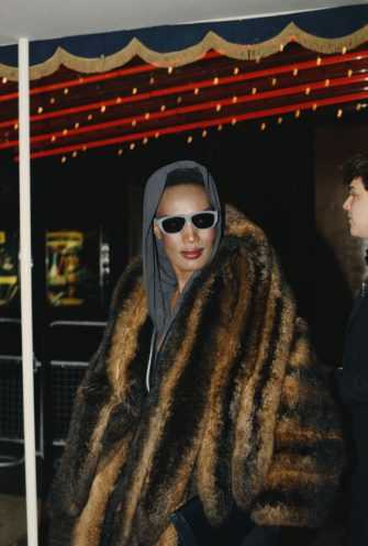 Jamaican-American model, singer and actress Grace Jones attends the premiere of the film 'Dune' at the Empire, Leicester Square, London, 13th December 1984. (Photo by Fox Photos/Hulton Archive/Getty Images)
