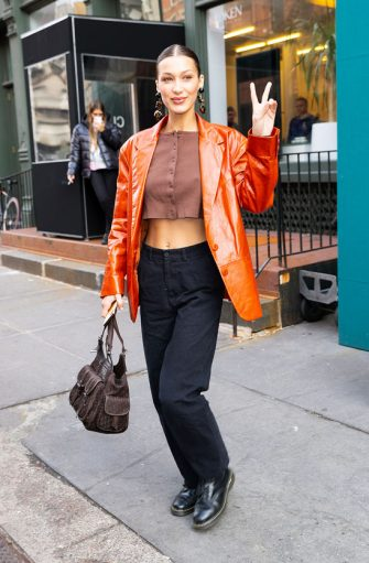 NEW YORK, NEW YORK - FEBRUARY 12: Bella Hadid at Sadelle on February 12, 2020 in New York City. (Photo by Gotham/GC Images)
