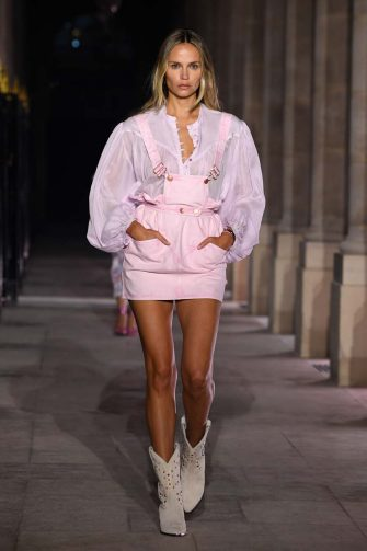 PARIS, FRANCE - OCTOBER 01: Natasha Poly walks the runway during the Isabel Marant Womenswear Spring/Summer 2021 show as part of Paris Fashion Week on October 01, 2020 in Paris, France. (Photo by Pascal Le Segretain/Getty Images)