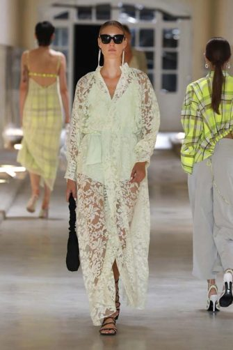BARCELONA, SPAIN â   September 17: A model walks the runway during the Eiko Ai show as part of the 080 Brcelona Fashion Spring/Summer 2021 on September 17, 2020 in Barcelona, Spain. (Photo by Estrop/Getty Images)