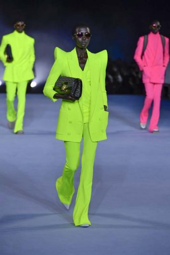 PARIS, FRANCE - SEPTEMBER 30: A model walks the runway during the Balmain Ready to Wear Spring/Summer 2021 fashion show as part of Paris Fashion Week on September 30, 2020 in Paris, France. (Photo by Victor VIRGILE/Gamma-Rapho via Getty Images)