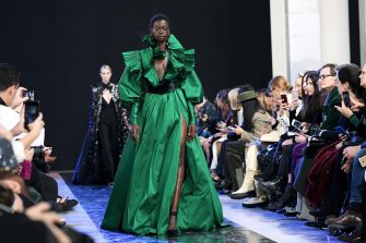 A model presents a creation by Elie Saab during the Women's Fall-Winter 2020-2021 Ready-to-Wear collection fashion show in Paris, on February 29, 2020. (Photo by Anne-Christine POUJOULAT / AFP) (Photo by ANNE-CHRISTINE POUJOULAT/AFP via Getty Images)