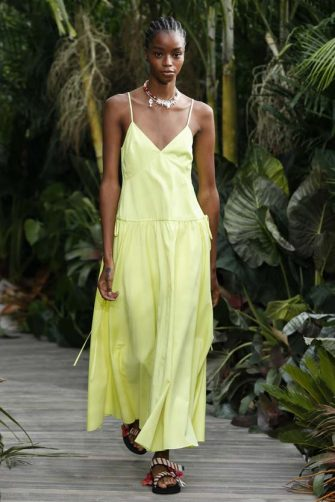 NEW YORK, NEW YORK - SEPTEMBER 13: A model walks the runway for Jason Wu Sping/Summer 2021 fashion show at Spring Studios Terrace during New York fashion week on September 13, 2020 in New York City, United States. (Photo by Victor VIRGILE/Gamma-Rapho via Getty Images)