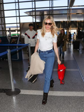 LOS ANGELES, CA - MARCH 05: Sienna Miller is seen at 'Los Angeles International Airport' on March 05, 2018 in Los Angeles, California.  (Photo by Niceguy/Bauer-Griffin/GC Images)