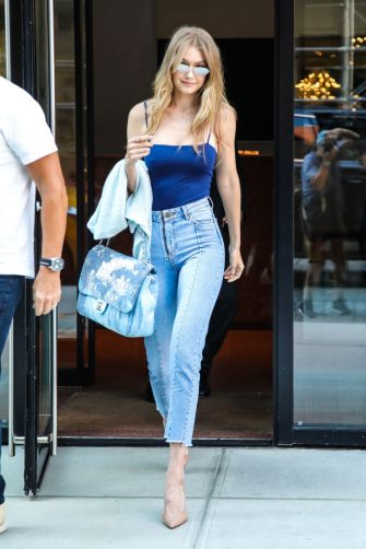 NEW YORK, NY - JULY 10:  Gigi Hadid is seen in SoHo on July 10, 2018 in New York City.  (Photo by Say Cheese!/GC Images)