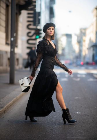 MILAN, ITALY - FEBRUARY 22: Olivia Culpo is seen wearing black sheer dress and beret on Day 3 Milan Fashion Week Autumn/Winter 2019/20 on February 22, 2019 in Milan, Italy. (Photo by Christian Vierig/Getty Images)