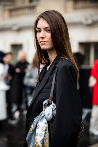 PARIS, FRANCE - OCTOBER 01: A model, fashion details, is seen outside the Chanel show during Paris Fashion Week - Womenswear Spring Summer 2020 on October 01, 2019 in Paris, France. (Photo by Claudio Lavenia/Getty Images)