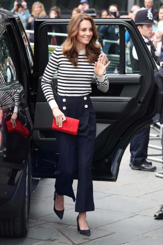 LONDON, ENGLAND - MAY 07: Catherine, Duchess of Cambridge arrives at the launch of The King's Cup Regatta at The Cutty Sark, Greenwich on May 07, 2019 in London, England. (Photo by Neil Mockford/GC Images)