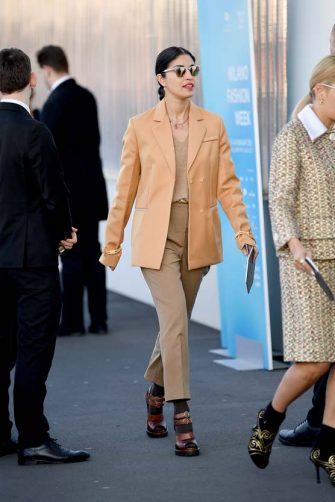 MILAN, ITALY - FEBRUARY 20:  Caroline Issa attends the Prada fashion show on February 20, 2020 in Milan, Italy. (Photo by Jacopo Raule/WireImage)