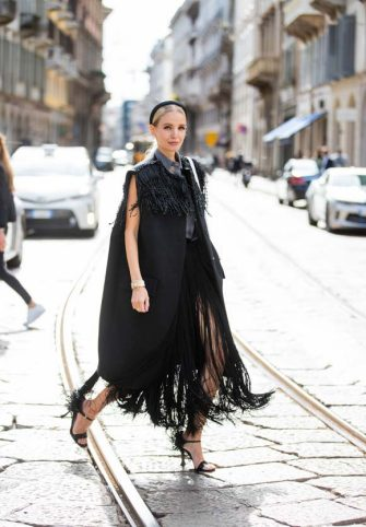 MILAN, ITALY - SEPTEMBER 26: Leonie Hanne seen wearing black Prada look during the Milan Women's Fashion Week on September 26, 2020 in Milan, Italy. (Photo by Christian Vierig/Getty Images)