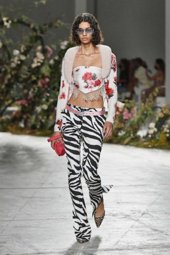 MILAN, ITALY - SEPTEMBER 23: A model walks the runway at the Blumarine Ready to Wear Spring/Summer 2021 fashion show during Milan Fashion Week Spring/Summer 2021 on September 23, 2020 in Milan, Italy. (Photo by Victor VIRGILE/Gamma-Rapho via Getty Images)