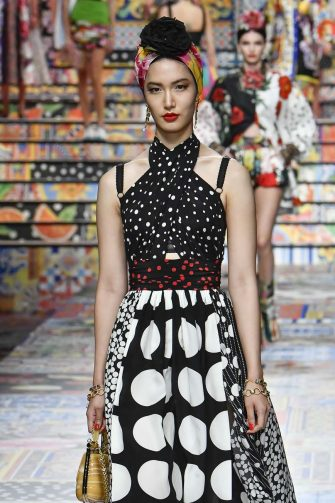 MILAN, ITALY - SEPTEMBER 23: A model walks the runway at the Dolce & Gabbana Ready to Wear Spring/Summer 2021 fashion show during the Milan Women's Fashion Week on September 23, 2020 in Milan, Italy. (Photo by Victor VIRGILE/Gamma-Rapho via Getty Images)